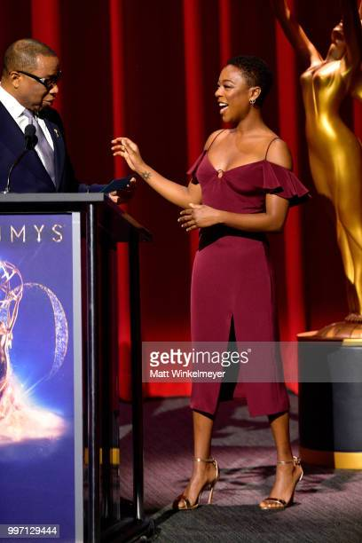 Television Academy Chairman and CEO Hayma Washington and Samira Wiley speak onstage during the 70th Emmy Awards Nominations Announcement at Saban...