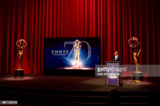 Television Academy Chairman and CEO Hayma Washington speaks onstage during the 70th Emmy Awards Nominations Announcement at Saban Media Center on...