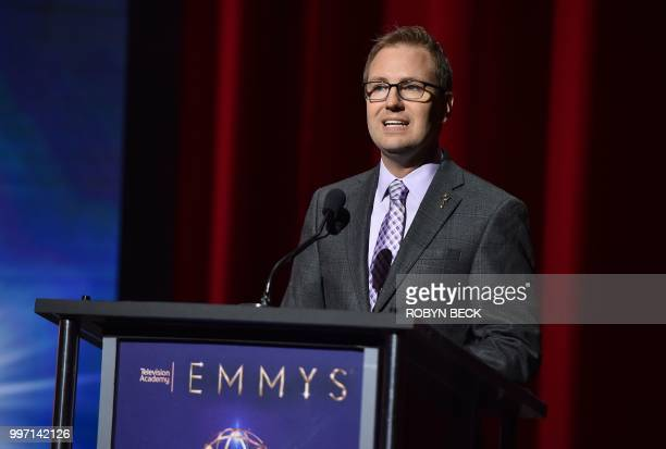 Television Academy Chief Operating Officer Maury McIntyre speaks on stage at the nominations announcement for the 70th Emmy Awards July 12 2018 at...