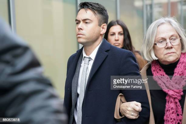 Television actor Bruno Langley arrives at Manchester Magistrates Court where he is facing sexual assault charges on November 28 2017 in Manchester...