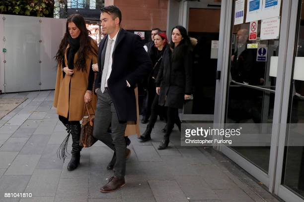 Television actor Bruno Langley leaves Manchester Magistrates Court after being sentenced for sexual assault charges on November 28 2017 in Manchester...