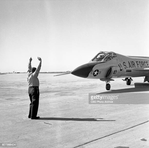 CBS television actor James Arness was invited by US Air Force Recruiting to take a ride in a F102A ConsolidatedVultee fighter jet In this frame he is...