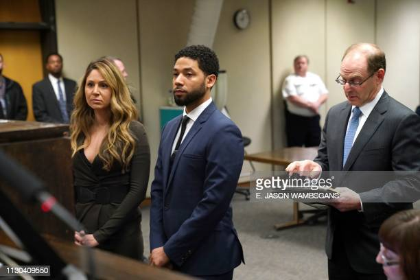 Television actor Jussie Smollett attends Leighton Criminal Court with his attorney Tina Glandian on March 14 in Chicago. - Smollett pleaded not...