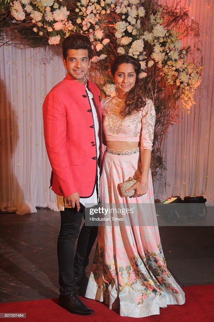 Television actor Karan Kundra with VJ Anusha at wedding reception of couple Bipasha Basu and Karan Singh on April 30 2016 in Mumbai India Bipasha...