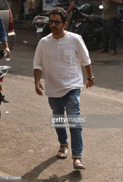 Television actor Vrajesh Hirjee during the funeral of Television actor Kushal Punjabi at Santa Cruz crematorium on December 28 2019 in Mumbai India...