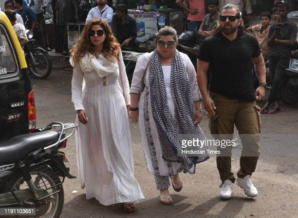 Television actors Tanaaz Irani with her husband Bakhtiyaar Irani and his sister Delnaaz Irani during the funeral of Television actor Kushal Punjabi...