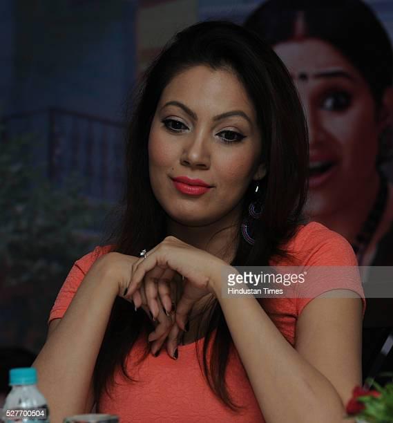 Television actress Munmun Dutta addressing a press conference regarding popular sitcom Taarak Mehta Ka Ooltah Chashmah on May 3 2016 in Bhopal India