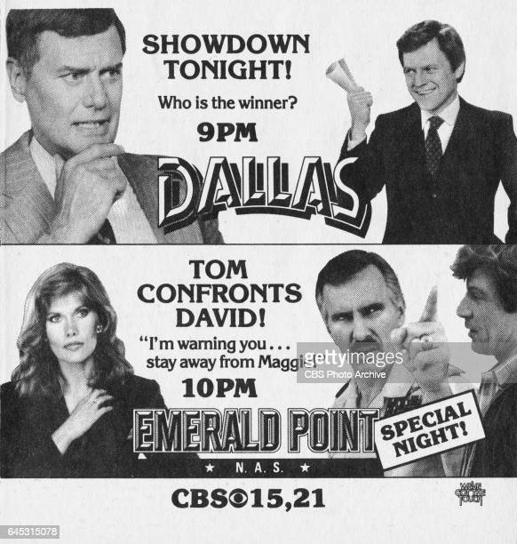 Television advertisement as appeared in the February 25 1984 issue of TV Guide magazine An ad for Friday primetime dramas Dallas and Emerald Point NAS