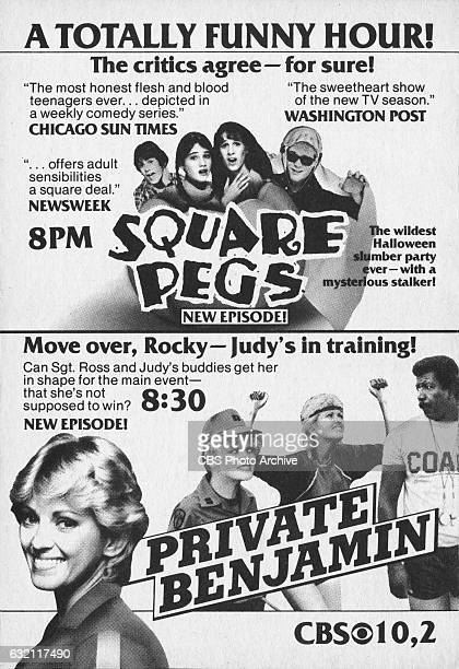 Television advertisement as appeared in the October 30 1982 issue of TV Guide magazine An ad for the Monday night comedies Square Pegs and Private...