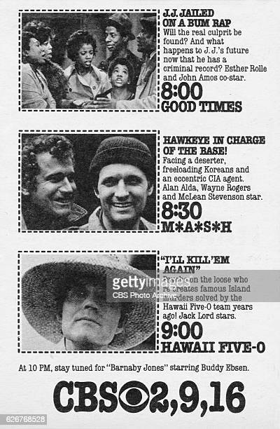 Television advertisement as appeared in the September 21 1974 issue of TV Guide magazine An ad for the Tuesday primetime lineup Good Times MASH...