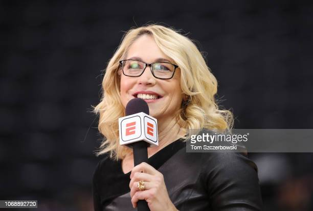 ESPN television analyst Doris Burke does a TV hit as she sets up the Toronto Raptors NBA game against the Philadelphia 76ers at Scotiabank Arena on...