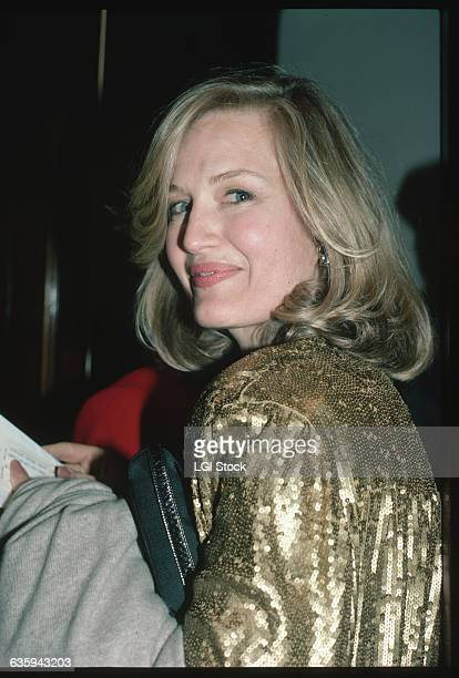 Television anchor Diane Sawyer wears a gold sequined jacket