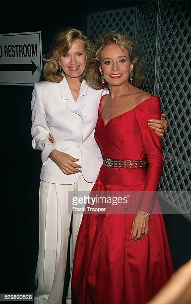 Television anchors Diane Sawyer and Barbara Walters arrive at the 1990 Television Hall of Fame awards This photo appears on page 83 in Frank...