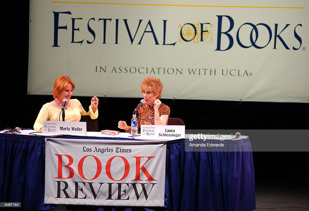 Television anchorwoman Marta Waller (L) converses with Dr. Laura Schlessinger (R) at the 9th Annual LA Times Festival of Books on April 25, 2004 at UCLA in Westwood, California.