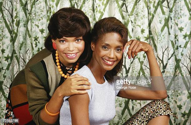 Television and film actresses Margaret Avery and Tisha Cambell pose together during a 1987 Beverly Hills California photo portrait session Avery...