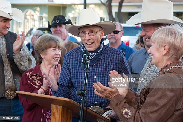 Television and film legend Johnny Crawford speaks at his star unveiling ceremony at The Walk of Western Stars on April 21 2016 in Newhall California