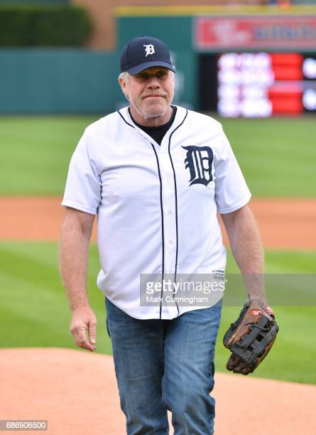 Television and movie actor Ron Perlman looks on after throwing out the ceremonial first pitch of the MLB game between the Detroit Tigers and the...