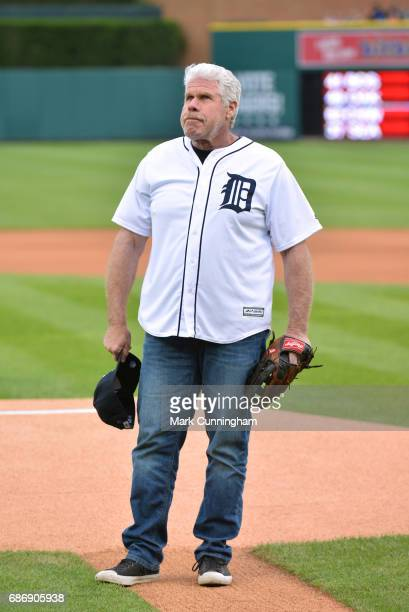 Television and movie actor Ron Perlman looks on before throwing out the ceremonial first pitch of the MLB game between the Detroit Tigers and the...