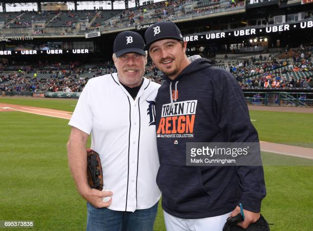 Television and movie actor Ron Perlman poses for a photo with Blaine Hardy of the Detroit Tigers after throwing out the ceremonial first pitch of the...