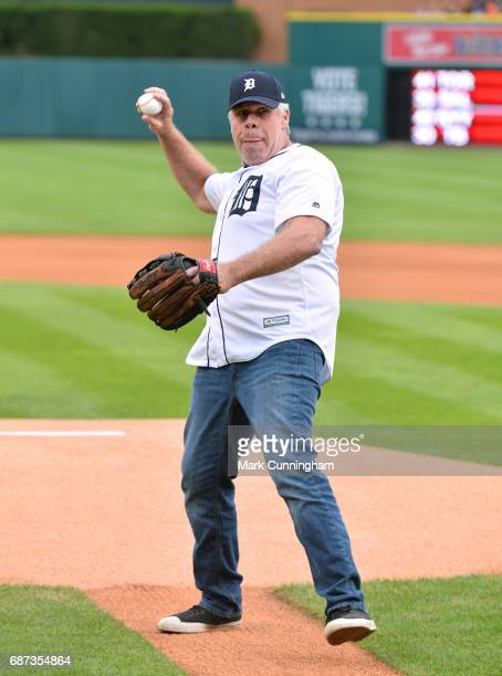 Television and movie actor Ron Perlman throws the ceremonial first pitch of the MLB game between the Detroit Tigers and the Texas Rangers at Comerica...