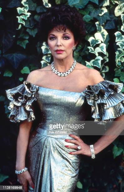 Television and movie star Joan Collins on the set of hit soap opera Dynasty circa 1986 in Los Angeles California