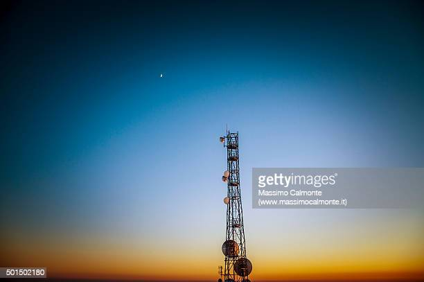 television and radio antennas tower in mount caina - radio broadcasting stock pictures, royalty-free photos & images