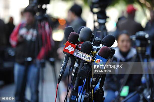 Television and radio microphones are set up outside Los Angeles Superior Court in anticipation of any potential press conference concerning the...