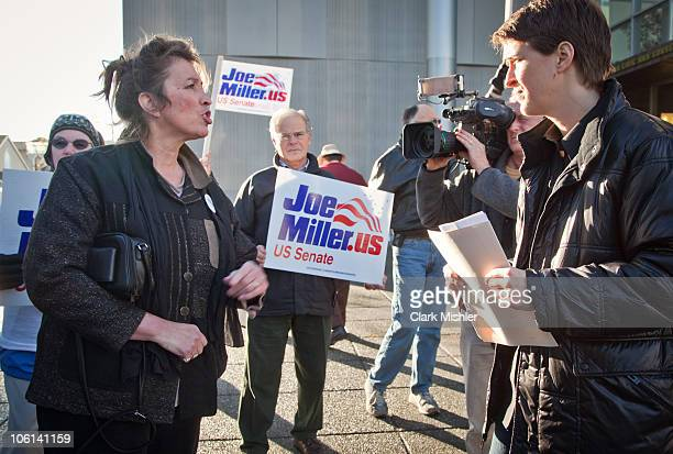 Television and radio personality Rachel Maddow speaks with supporters of Republican candidate Joe Miller prior to his debate with writein candidate...