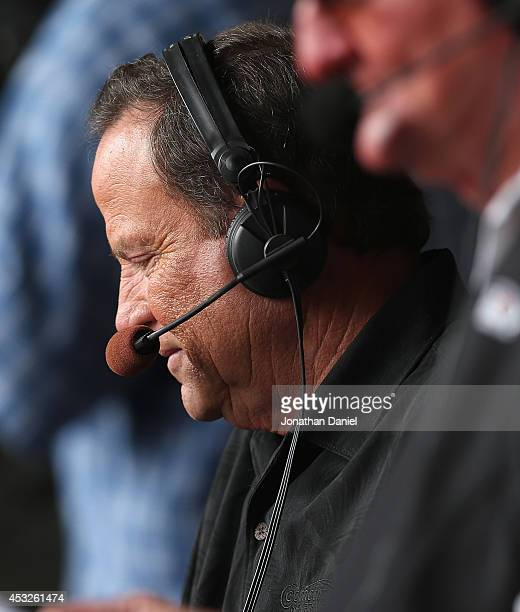 Television broadcaster Steve Stone check his notes during a break between innings as the Chicago White Sox take on the Texas Rangers at U.S. Cellular...