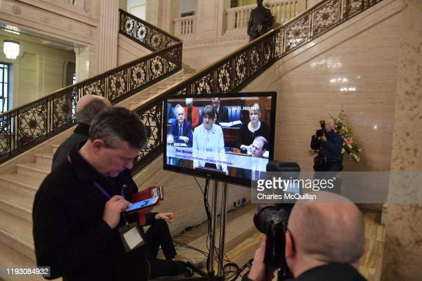 Television broadcasts DUP leader Arlene Foster speaking to the chamber after being elected First Minister of the Northern Ireland power sharing...