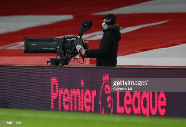 Television camera behind the Premier League logo during the Premier League match between Arsenal and Wolverhampton Wanderers at Emirates Stadium on...