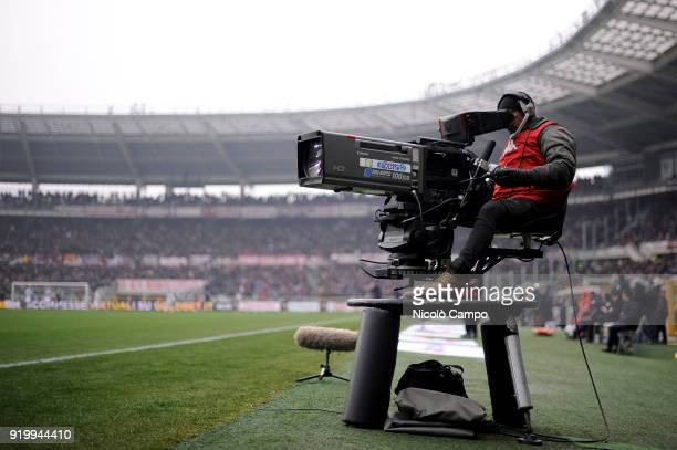 A television camera is pictured during the Serie A football match between Torino FC and Juventus FC Juventus FC won 10 over Torino FC