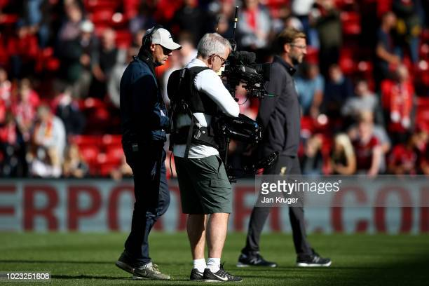 Television camera is seen filming the match during the Premier League match between Liverpool FC and Brighton Hove Albion at Anfield on August 25...