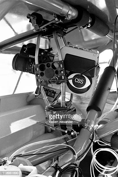 CBS television camera mounted in NASCAR driver Richard Petty's race car gave TV viewers the view out Petty's rear window at the 1984 Daytona 500 on...