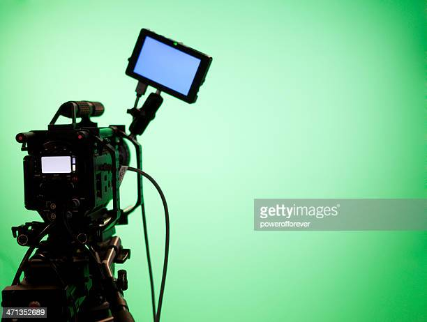 television camera on green screen background - stage set stock pictures, royalty-free photos & images