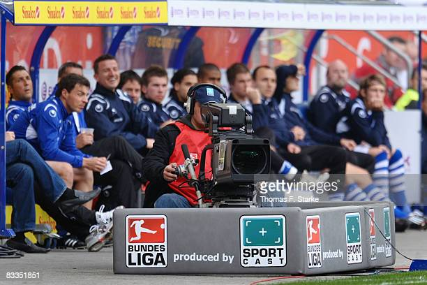 A television camera stands in front of the substitutes bench of Duisburg during the Second Bundesliga match between MSV Duisburg and FC Ingolstadt at...