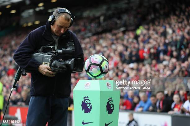 Television cameraman films the Nike Ordem English Premier League match ball during the Premier League match between Manchester United and West...