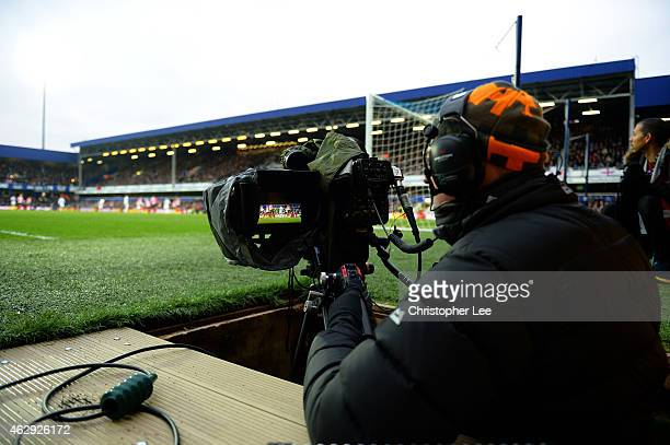 A television cameraman works during the Barclays Premier League match between Aston Villa and Chelsea at Villa Park on February 7 2015 in Birmingham...