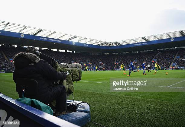 Television Cameraman works during the Barclays Premier League match between Leicester City and Norwich City at The King Power Stadium on February 27...