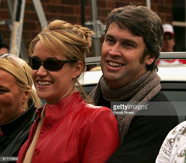 Television Chanel 9 CEO David Gyngell holds in his arms girlfriend reporter Leila McKinnon at the auction of the two last units of the second series...