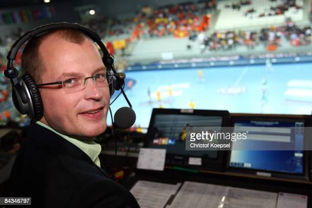 RTL television channel sport commentator Karsten Petrzika is seen during the Men's World Handball Championships match between Algeria and Macedonia...