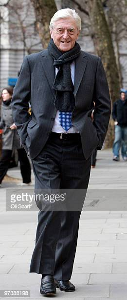 Television chat show host Sir Michael Parkinson arrives at the High Court to attend his libel trial against Associated Newspapers on March 3 2010 in...