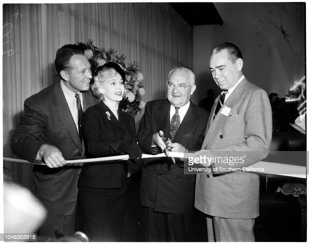 CBS Television City ribbon cutting November 15 1952 Zsa Zsa GaborArt Linkletter Mayor Fletcher BowronJL Van Volkenburg Earl GilmoreCharles L Glett...