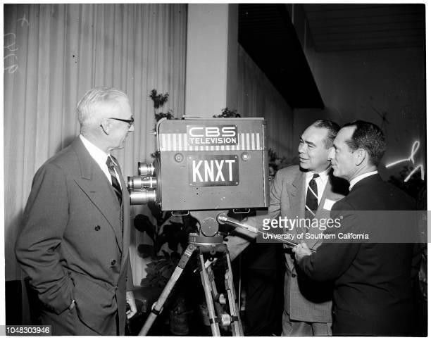 Television City ribbon cutting, November 15 1952. Zsa Zsa Gabor;Art Linkletter ;Mayor Fletcher Bowron;J.L Van Volkenburg ;Earl Gilmore;Charles L...