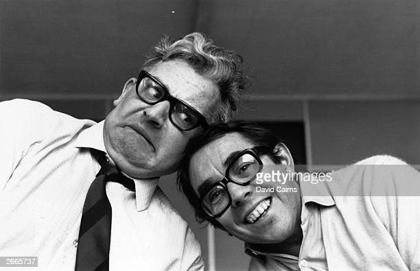 Television comedy duo The Two Ronnies, Ronnie Barker and Ronnie Corbett.