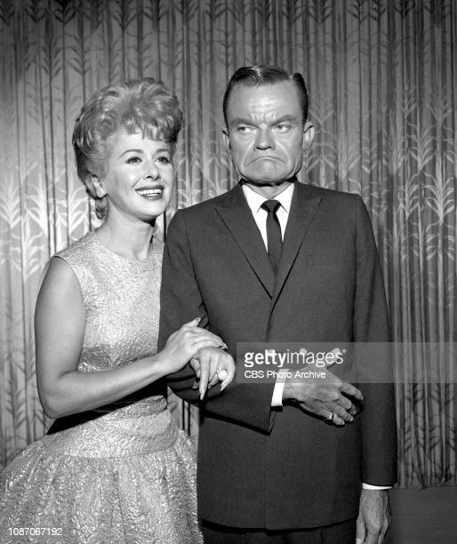Television comedy, variety program, The Spike Jones Show. Pictured from left is singer Helen Grayco, Spike Jones. June 29, 1961. Los Angeles, CA.
