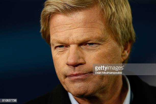 Television commentator and former Germany goalkeeper Oliver Kahn looks on during the UEFA Champions League round of 16 first leg match between KAA...