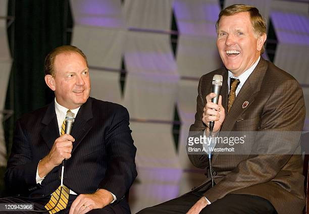 ABC Television commentator and NFL Hall of Famer Bob Griese laughs at a story told by Georgia Tech head coach Chan Gailey at the 2006 ACC Football...