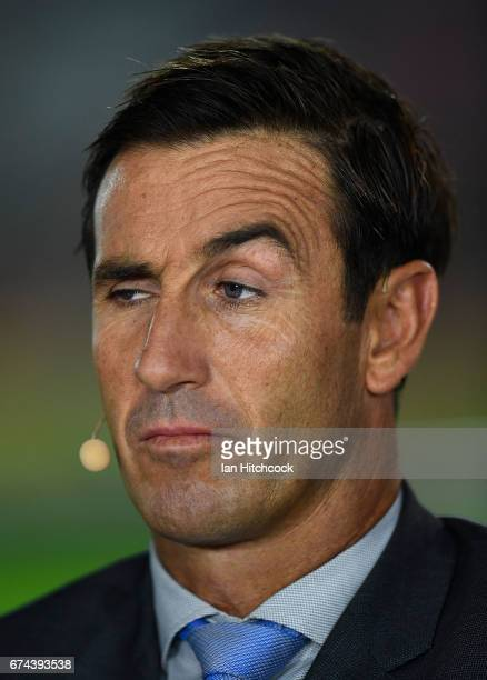 Television commentator Andrew Johns is seen before the start of the round nine NRL match between the North Queensland Cowboys and the Parramatta Eels...