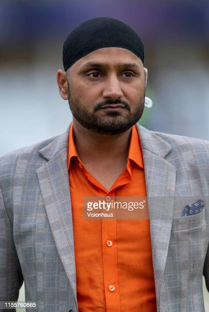 Television commentator Harbhajan Singh before the Group Stage match of the ICC Cricket World Cup 2019 between India and New Zealand at Trent Bridge...